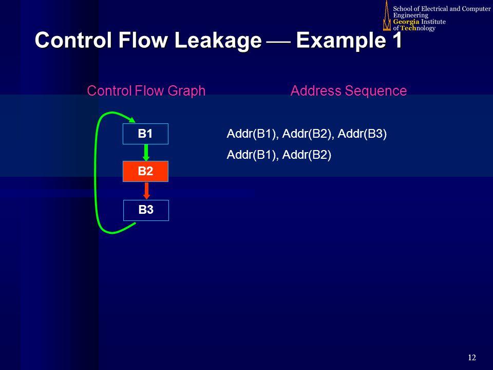 12 Control Flow Leakage  Example 1 B1 B2 B3 Control Flow GraphAddress Sequence Addr(B1), Addr(B2), Addr(B3) Addr(B1), Addr(B2)