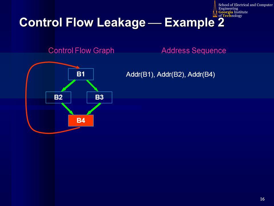 16 Control Flow Leakage  Example 2 B1 B2 B4 Control Flow GraphAddress Sequence Addr(B1), Addr(B2), Addr(B4) B3