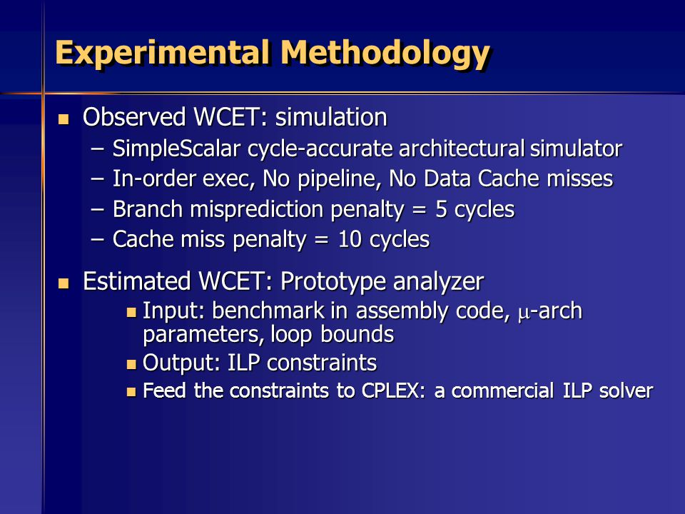 Experimental Methodology Observed WCET: simulation Observed WCET: simulation –SimpleScalar cycle-accurate architectural simulator –In-order exec, No pipeline, No Data Cache misses –Branch misprediction penalty = 5 cycles –Cache miss penalty = 10 cycles Estimated WCET: Prototype analyzer Estimated WCET: Prototype analyzer Input: benchmark in assembly code,  -arch parameters, loop bounds Input: benchmark in assembly code,  -arch parameters, loop bounds Output: ILP constraints Output: ILP constraints Feed the constraints to CPLEX: a commercial ILP solver Feed the constraints to CPLEX: a commercial ILP solver