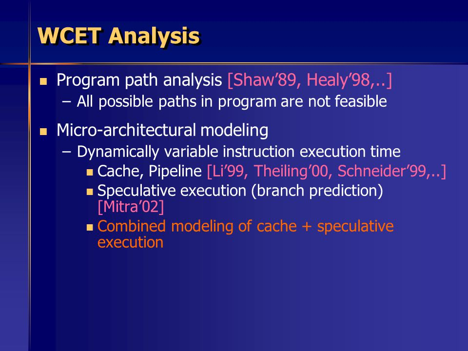WCET Analysis Program path analysis [Shaw'89, Healy'98,..] – –All possible paths in program are not feasible Micro-architectural modeling – –Dynamically variable instruction execution time Cache, Pipeline [Li'99, Theiling'00, Schneider'99,..] Speculative execution (branch prediction) [Mitra'02] Combined modeling of cache + speculative execution