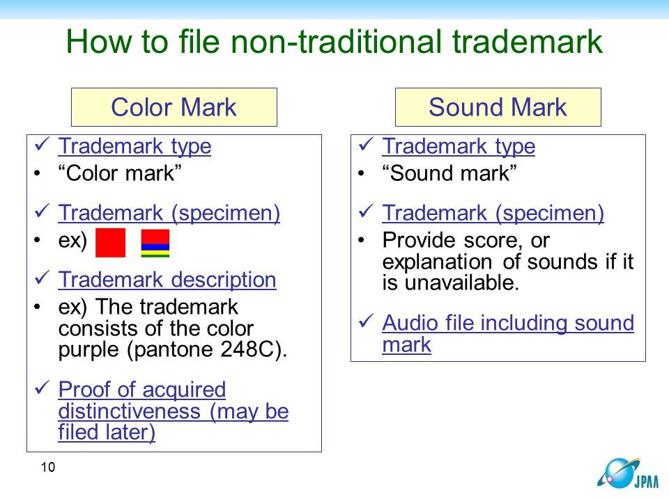 """How to file non-traditional trademark Trademark type """"Color mark"""" Trademark (specimen) ex) Trademark description ex) The trademark consists of the col"""