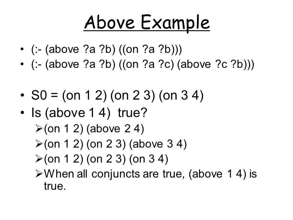 Above Example (:- (above ?a ?b) ((on ?a ?b))) (:- (above ?a ?b) ((on ?a ?c) (above ?c ?b))) S0 = (on 1 2) (on 2 3) (on 3 4) Is (above 1 4) true.