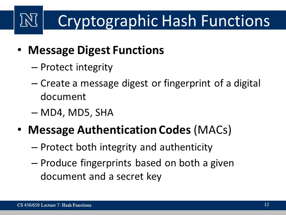 Cryptographic Hash Functions Message Digest Functions – Protect integrity – Create a message digest or fingerprint of a digital document – MD4, MD5, S