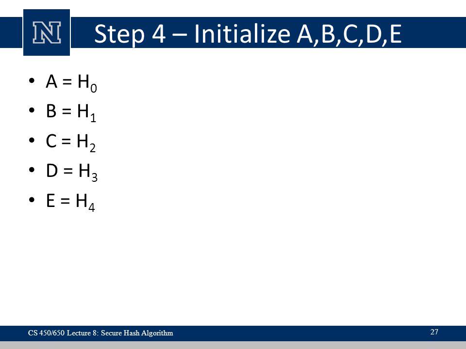 Step 4 – Initialize A,B,C,D,E A = H 0 B = H 1 C = H 2 D = H 3 E = H 4 CS 450/650 Lecture 8: Secure Hash Algorithm 27