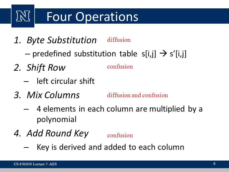 Four Operations 1.Byte Substitution – predefined substitution table s[i,j]  s'[i,j] 2.Shift Row – left circular shift 3.Mix Columns – 4 elements in each column are multiplied by a polynomial 4.Add Round Key – Key is derived and added to each column CS 450/650 Lecture 7: AES 6 diffusion diffusion and confusion confusion