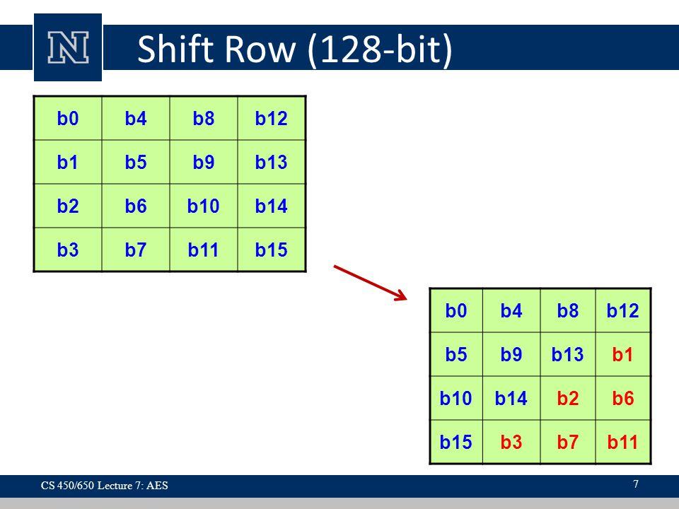 Shift Row (128-bit) b0b4b8b12 b1b5b9b13 b2b6b10b14 b3b7b11b15 b0b4b8b12 b5b9b13b1 b10b14b2b6 b15b3b7b11 CS 450/650 Lecture 7: AES 7