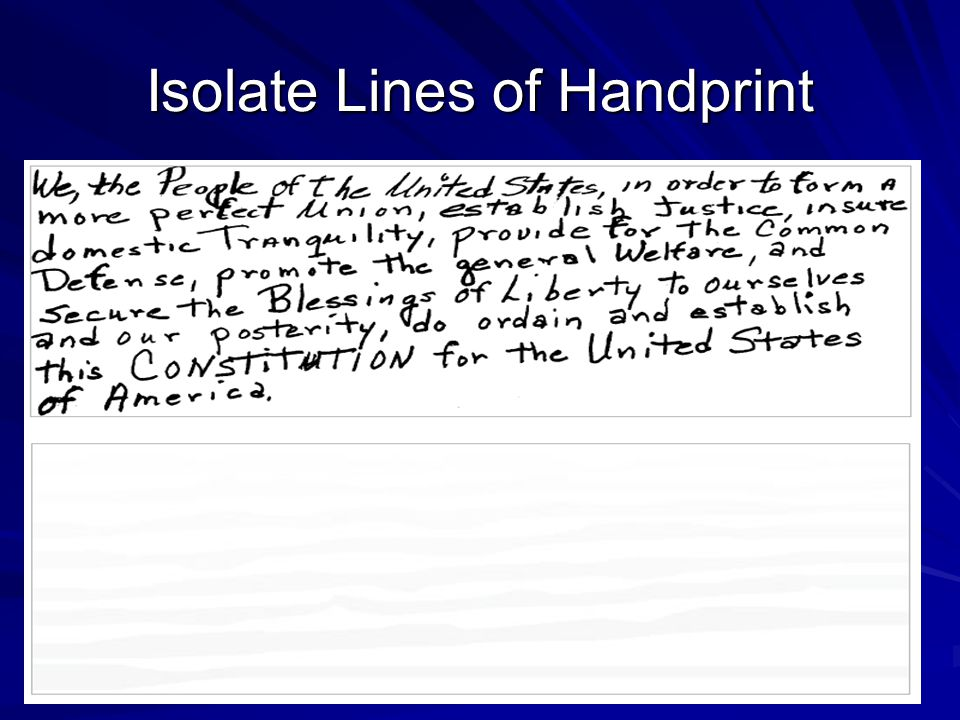 Isolate Lines of Handprint