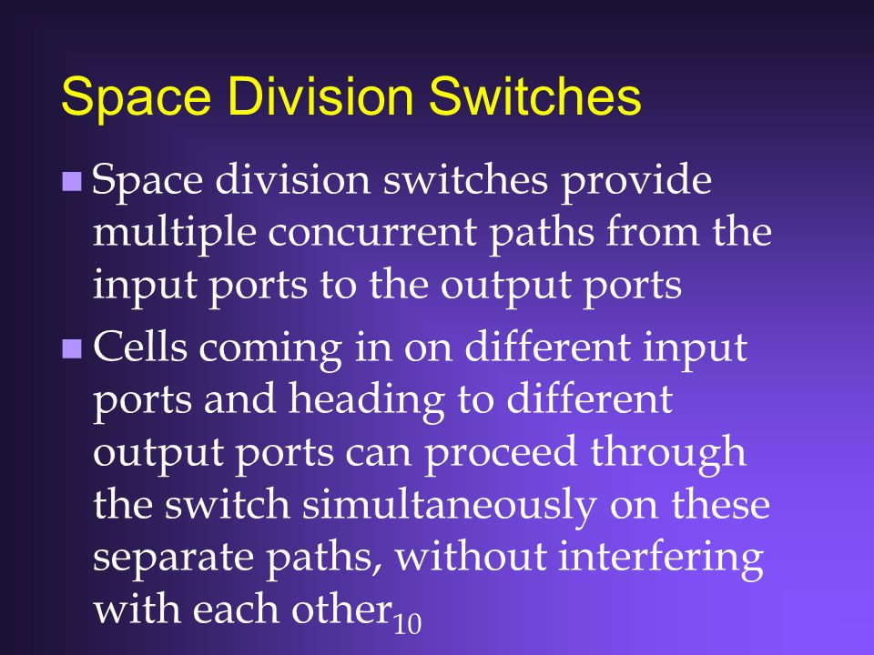 10 Space Division Switches n Space division switches provide multiple concurrent paths from the input ports to the output ports n Cells coming in on d