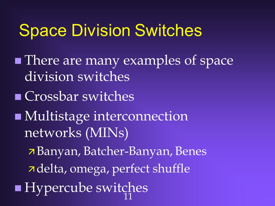 11 Space Division Switches n There are many examples of space division switches n Crossbar switches n Multistage interconnection networks (MINs) ä Ban
