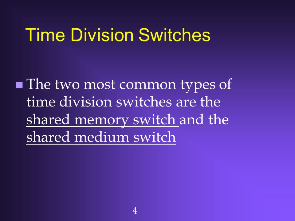 5 Time Division Switches (Cont'd) n Shared memory switch: there is a common internal buffer in the switch, through which all cells pass en route to their output ports n Shared medium switch: there is a common bus in the switch, over which all cells must pass en route to their output ports