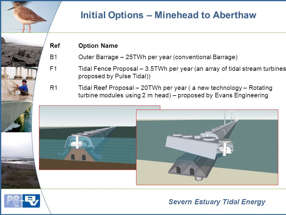 Severn Estuary Tidal Energy Initial Options – Minehead to Aberthaw RefOption Name B1Outer Barrage – 25TWh per year (conventional Barrage) F1Tidal Fence Proposal – 3.5TWh per year (an array of tidal stream turbines proposed by Pulse Tidal)) R1Tidal Reef Proposal – 20TWh per year ( a new technology – Rotating turbine modules using 2 m head) – proposed by Evans Engineering