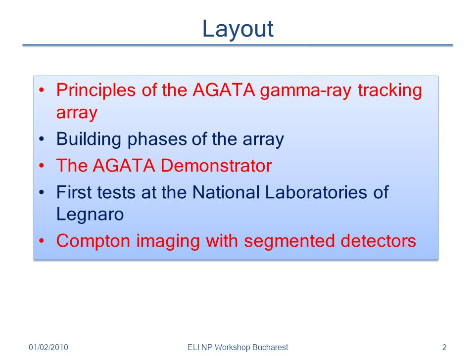 Layout 01/02/20102ELI NP Workshop Bucharest Principles of the AGATA gamma–ray tracking array Building phases of the array The AGATA Demonstrator First