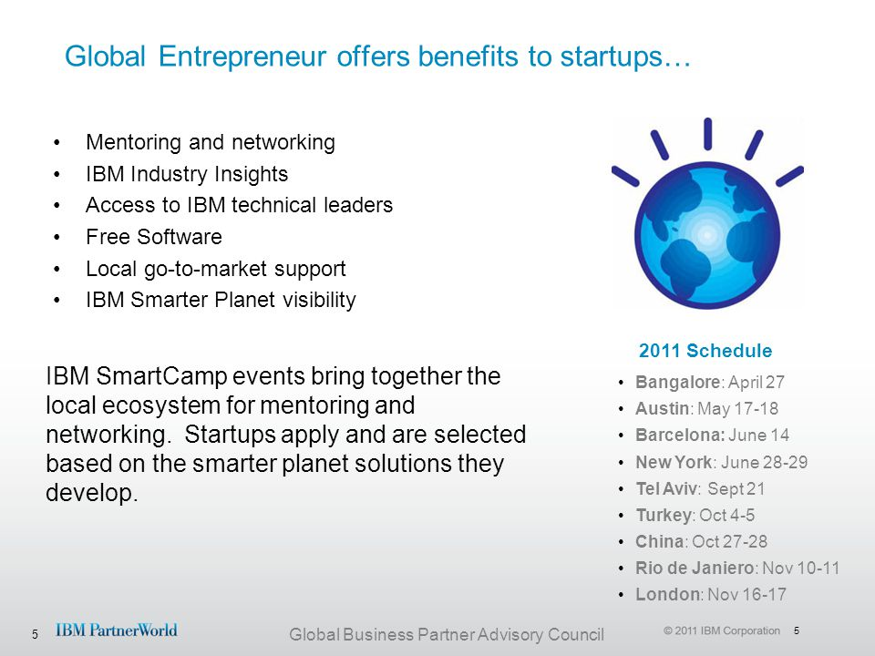 5 Global Business Partner Advisory Council Global Entrepreneur offers benefits to startups… Mentoring and networking IBM Industry Insights Access to I