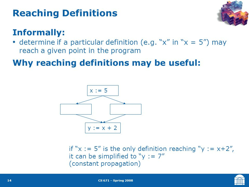 CS 671 – Spring 2008 14 Reaching Definitions Informally: determine if a particular definition (e.g.