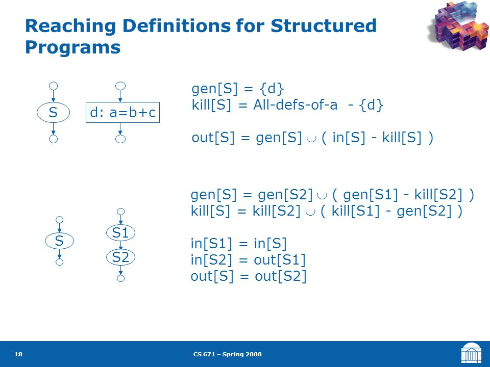 CS 671 – Spring 2008 18 Reaching Definitions for Structured Programs S gen[S] = gen[S2]  ( gen[S1] - kill[S2] ) kill[S] = kill[S2]  ( kill[S1] - gen[S2] ) in[S1] = in[S] in[S2] = out[S1] out[S] = out[S2] S1 S2 Sd: a=b+c gen[S] = {d} kill[S] = All-defs-of-a - {d} out[S] = gen[S]  ( in[S] - kill[S] )