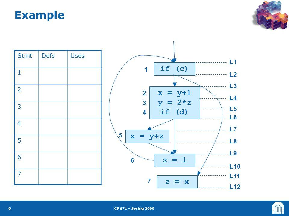 CS 671 – Spring 2008 7 Example if (c) x = y+1 y = 2*z if (d) x = y+z z = 1 z = x 1 2 3 4 5 6 7 L1 = L2 = L3 = L4 = L5 = L6 = L7 = L8 = L9 = L10 = L11 = L12 = in[I] = ( out[I] – def[I] )  use[I] out[B] =  in[B'] B'  succ(B) L1 = { } L5 = { } L9 = { } L2 = { } L6 = { } L3 = { } L11 = { } L4 = { } L10 = { } L7 = { } L8 = { } L12 = { }