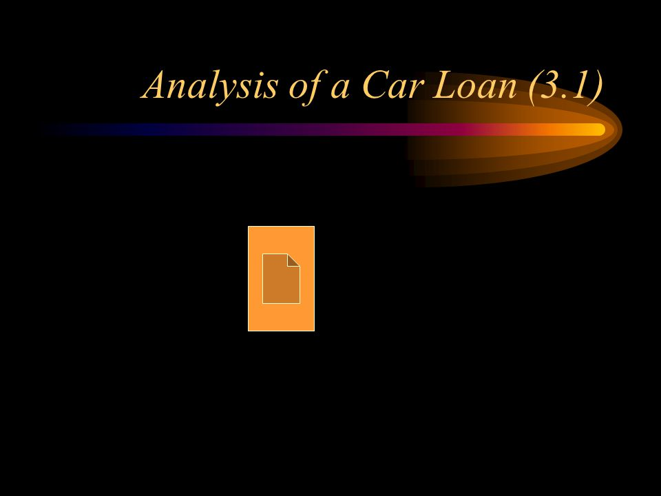 Analysis of a Car Loan (3.1)