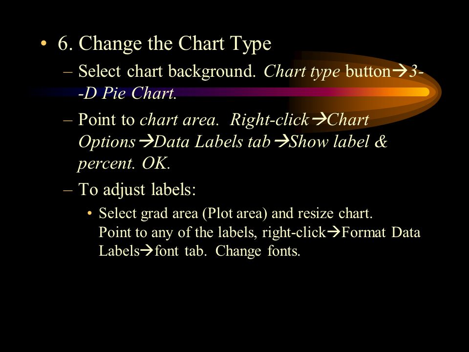 6. Change the Chart Type –Select chart background.
