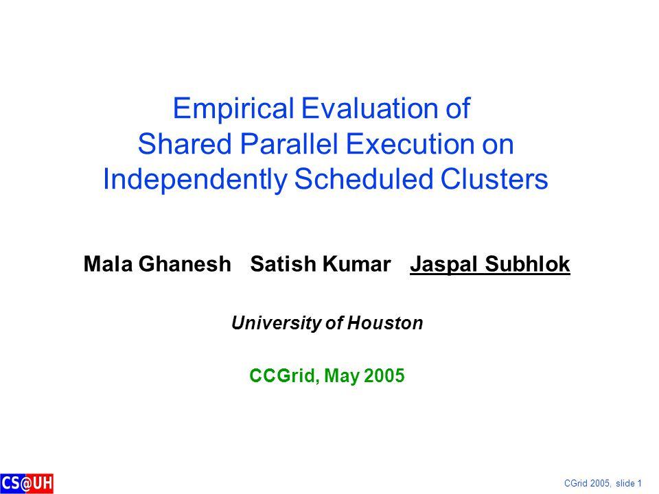 CGrid 2005, slide 1 Empirical Evaluation of Shared Parallel Execution on Independently Scheduled Clusters Mala Ghanesh Satish Kumar Jaspal Subhlok Uni