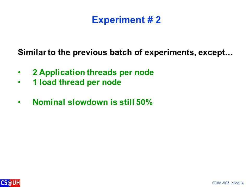 CGrid 2005, slide 14 Experiment # 2 Similar to the previous batch of experiments, except… 2 Application threads per node 1 load thread per node Nominal slowdown is still 50%