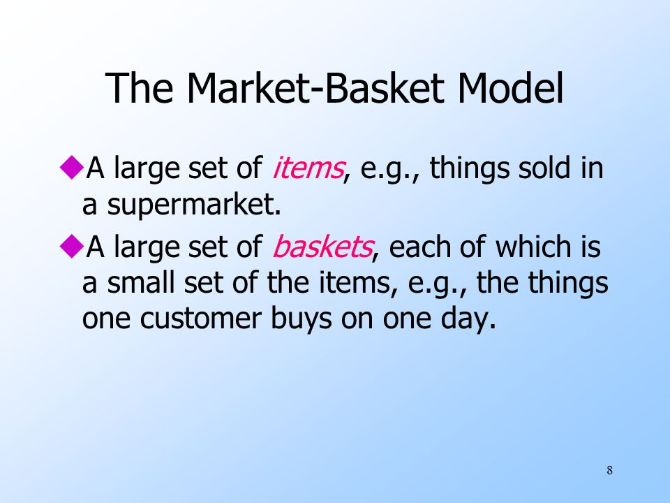 9 Association Rule Mining transaction id customer id products bought sales records: Trend: Products p5, p8 often bought together market-basket data