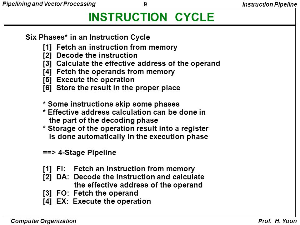 9 Pipelining and Vector Processing Computer Organization Prof. H. Yoon INSTRUCTION CYCLE Six Phases* in an Instruction Cycle [1] Fetch an instruction