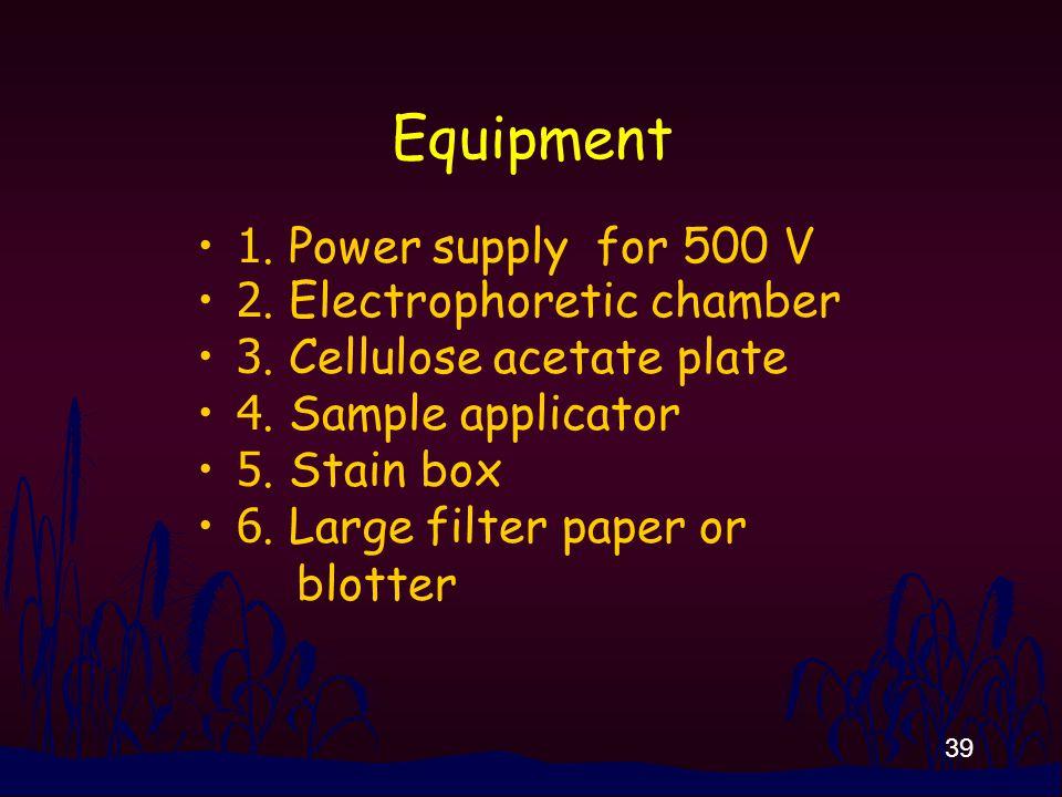 39 Equipment 1. Power supply for 500 V 2. Electrophoretic chamber 3.