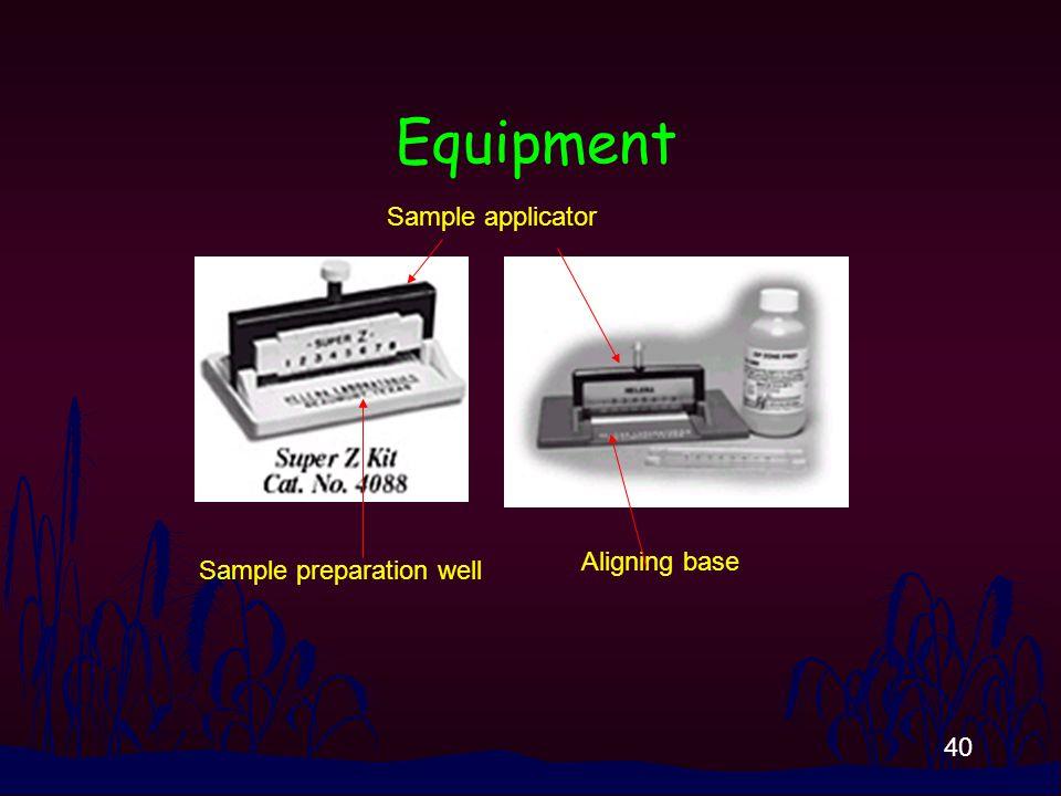40 Equipment Sample preparation well Aligning base Sample applicator
