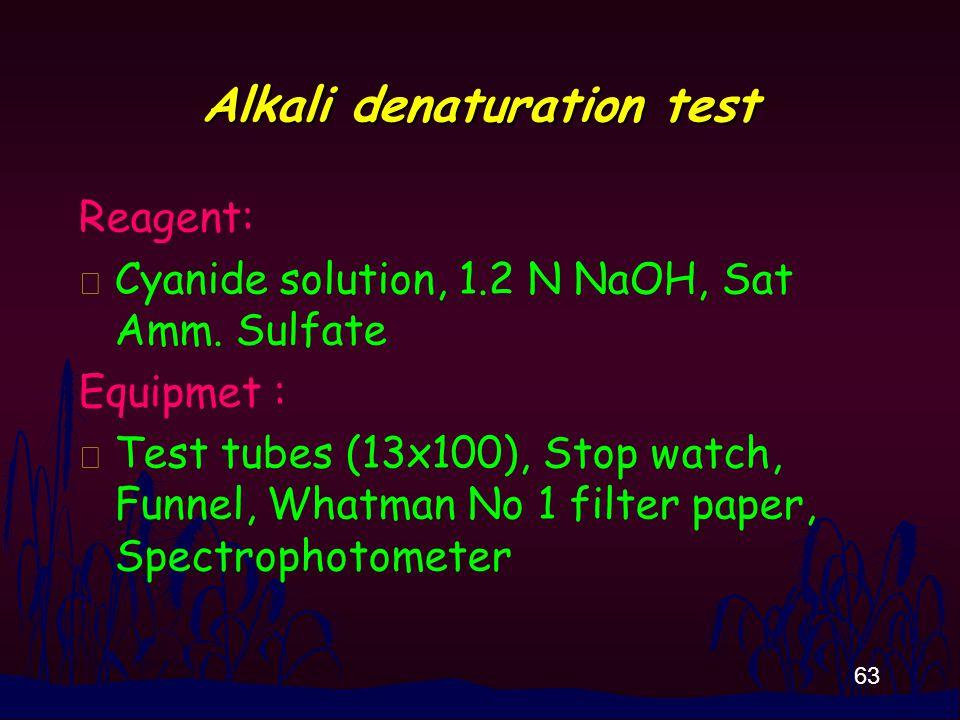 63 Alkali denaturation test Reagent: n Cyanide solution, 1.2 N NaOH, Sat Amm.