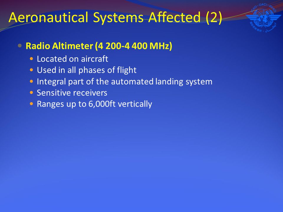 Aeronautical Systems Affected (2) Radio Altimeter (4 200-4 400 MHz) Located on aircraft Used in all phases of flight Integral part of the automated la