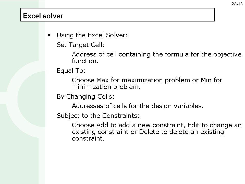 Excel solver 2A-13