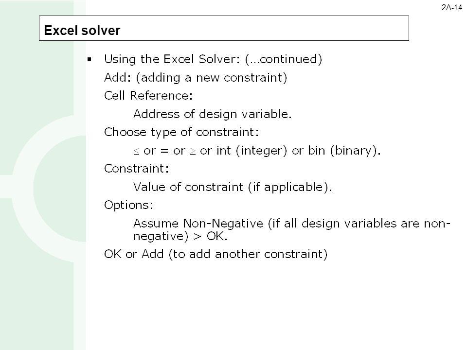Excel solver 2A-14