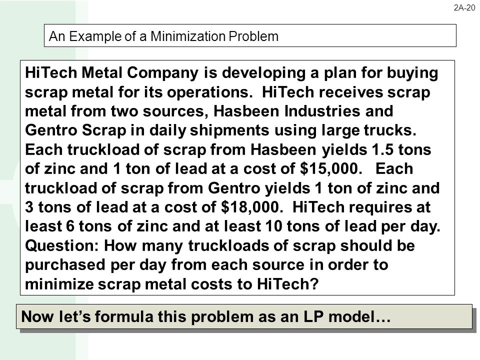 An Example of a Minimization Problem HiTech Metal Company is developing a plan for buying scrap metal for its operations. HiTech receives scrap metal