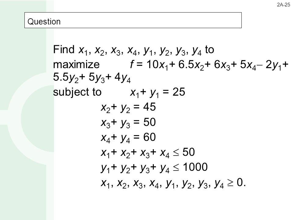 Question 2A-25 Find x 1, x 2, x 3, x 4, y 1, y 2, y 3, y 4 to maximize f = 10x 1 + 6.5x 2 + 6x 3 + 5x 4  2y 1 + 5.5y 2 + 5y 3 + 4y 4 subject to x 1 +