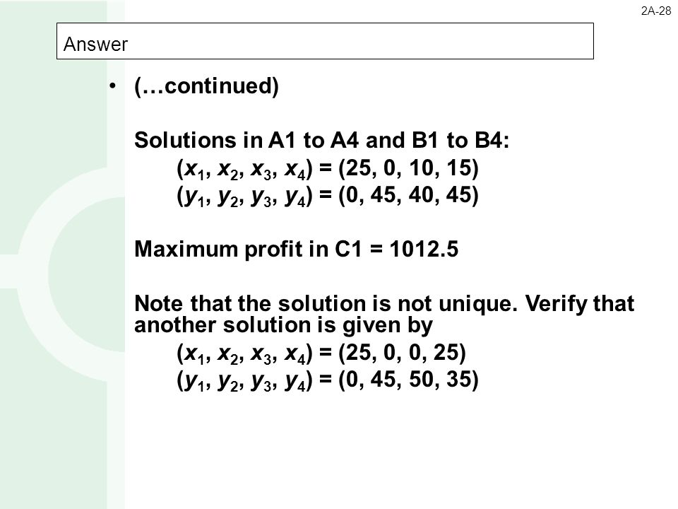 Answer 2A-28 (…continued) Solutions in A1 to A4 and B1 to B4: (x 1, x 2, x 3, x 4 ) = (25, 0, 10, 15) (y 1, y 2, y 3, y 4 ) = (0, 45, 40, 45) Maximum