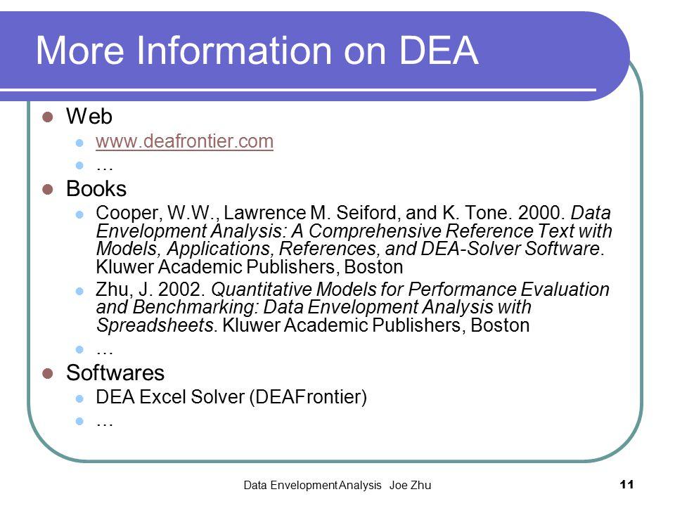 Data Envelopment Analysis Joe Zhu11 More Information on DEA Web www.deafrontier.com … Books Cooper, W.W., Lawrence M. Seiford, and K. Tone. 2000. Data