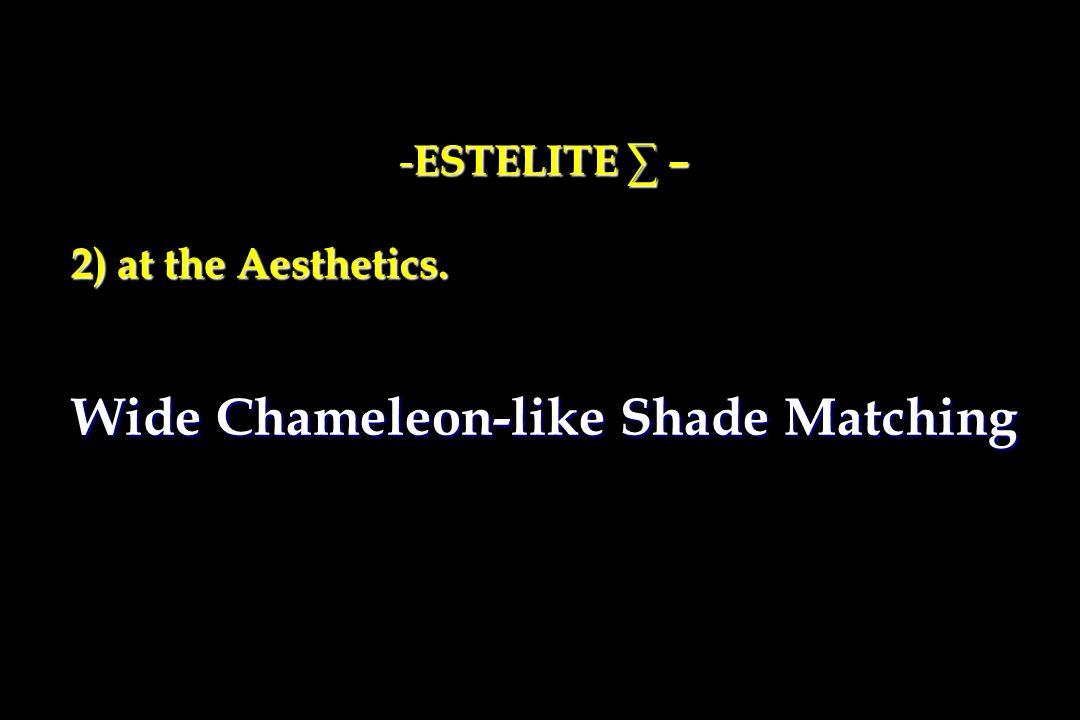 - ESTELITE ∑ – 2) at the Aesthetics. 2) at the Aesthetics. Wide Chameleon-like Shade Matching
