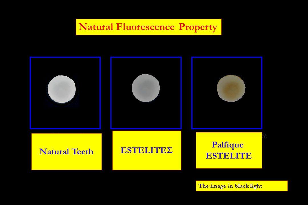 Natural Fluorescence Property The image in black light 天然歯の蛍光性 エステライト Σ の蛍光性 エステライトの蛍光 性 Natural Teeth Palfique ESTELITE ESTELITEΣ