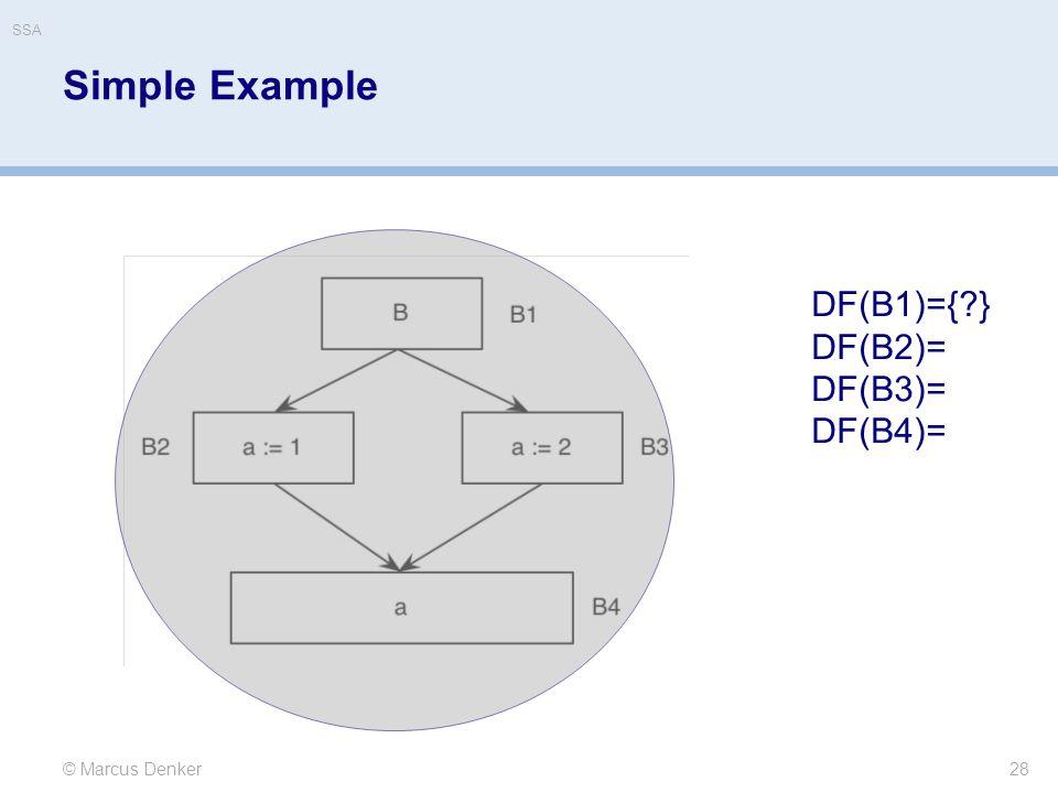 Simple Example 28 © Marcus Denker DF(B1)={ } DF(B2)= DF(B3)= DF(B4)= SSA