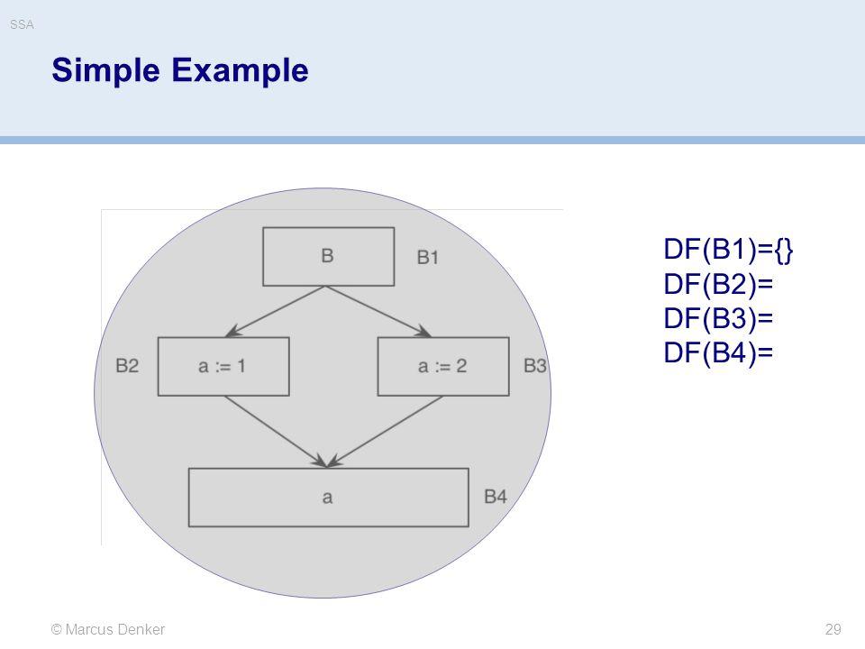 Simple Example 29 © Marcus Denker DF(B1)={} DF(B2)= DF(B3)= DF(B4)= SSA