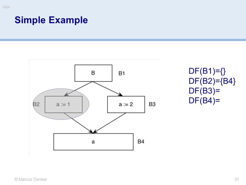 Simple Example 31 © Marcus Denker DF(B1)={} DF(B2)={B4} DF(B3)= DF(B4)= SSA