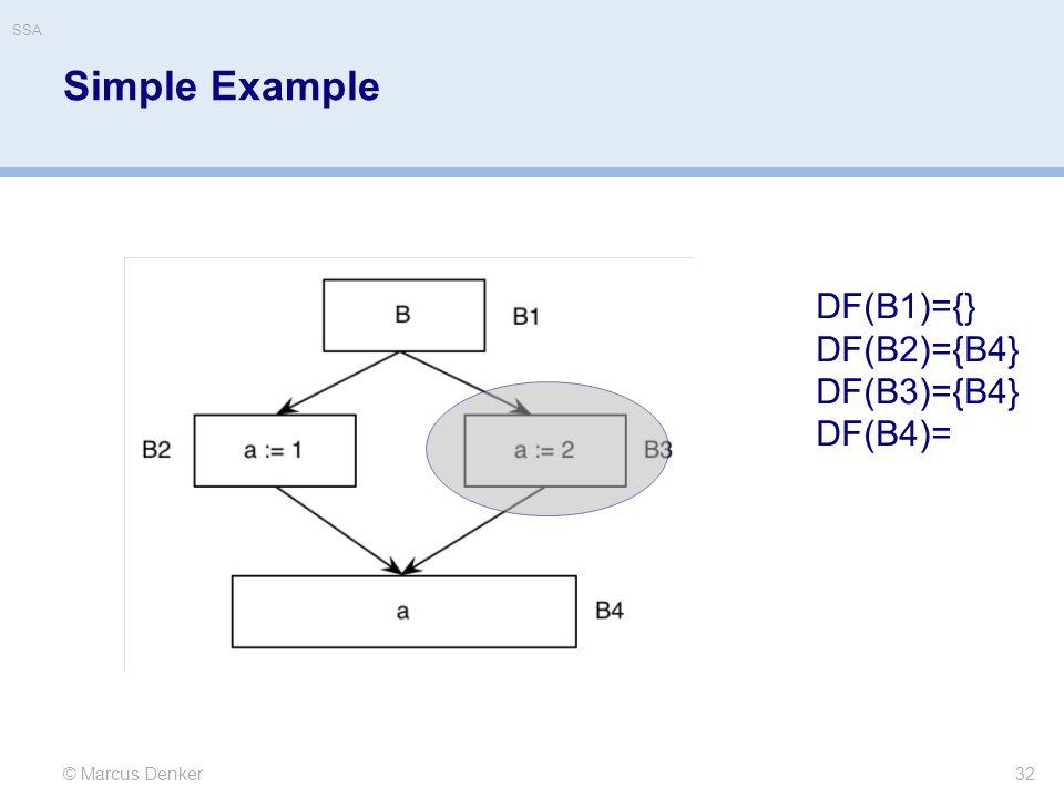 Simple Example 32 © Marcus Denker DF(B1)={} DF(B2)={B4} DF(B3)={B4} DF(B4)= SSA