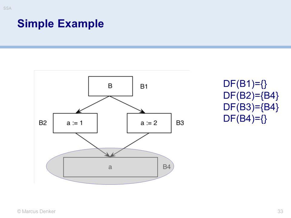 Simple Example 33 © Marcus Denker DF(B1)={} DF(B2)={B4} DF(B3)={B4} DF(B4)={} SSA