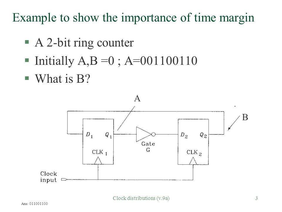 Clock distributions (v.9a)4 A 2-bit ring counter example (Cont'd) §The result is ok when the clock is slow.
