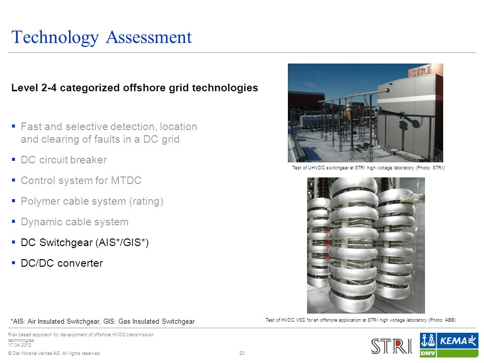 © Det Norske Veritas AS. All rights reserved. Risk based approach for development of offshore HVDC transmission technologies 17.04.2012 Technology Ass