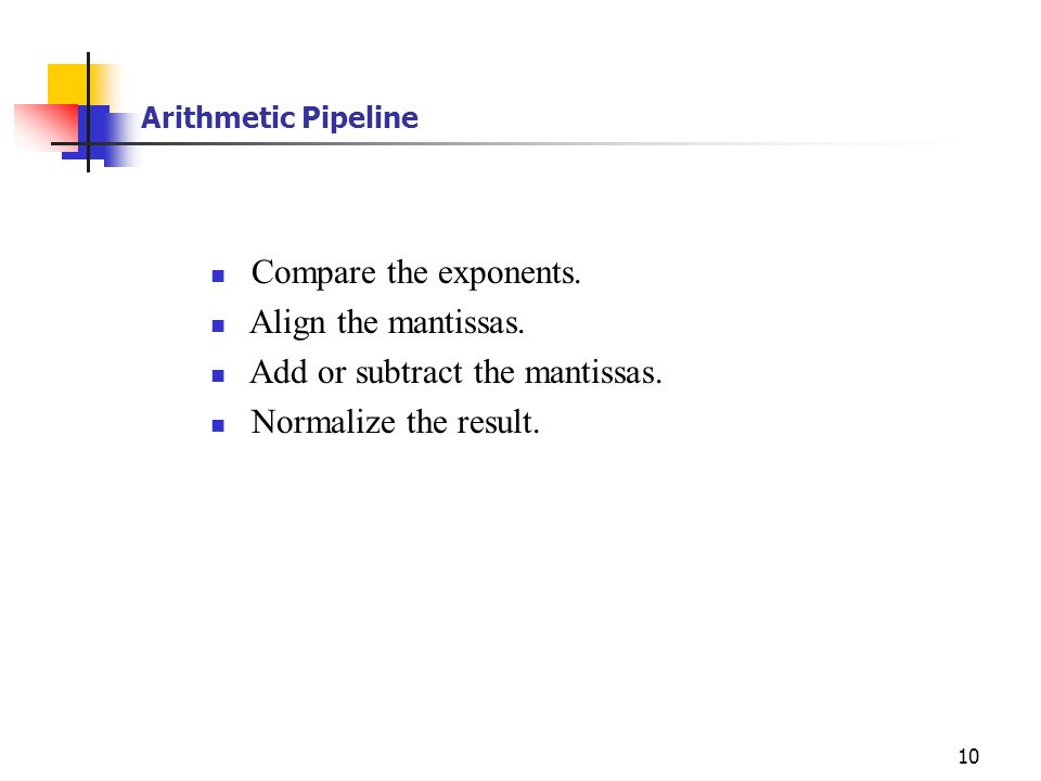 10 Arithmetic Pipeline Compare the exponents. Align the mantissas. Add or subtract the mantissas. Normalize the result.
