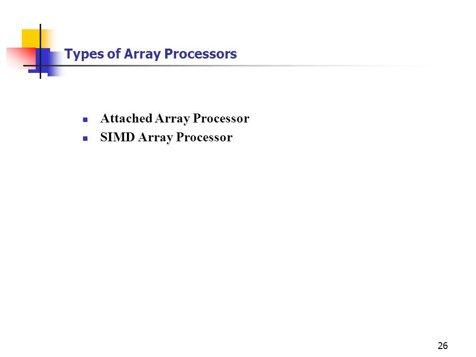 26 Types of Array Processors Attached Array Processor SIMD Array Processor