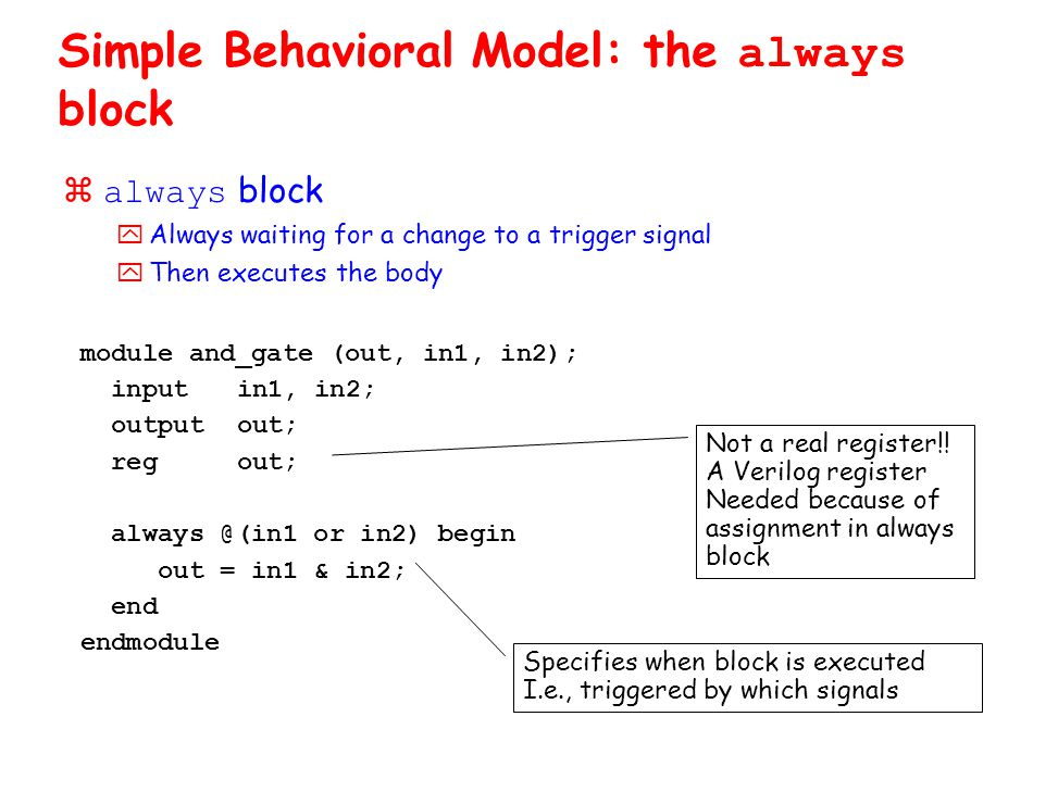 module and_gate (out, in1, in2); inputin1, in2; outputout; regout; always @(in1 or in2) begin out = in1 & in2; end endmodule Simple Behavioral Model: