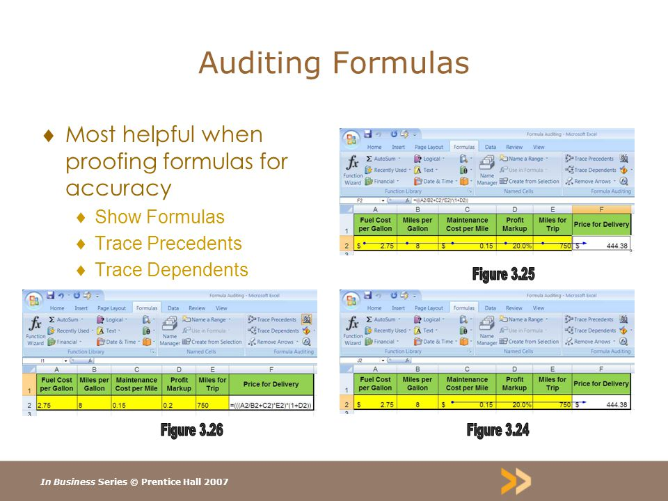 In Business Series © Prentice Hall 2007 Auditing Formulas  Most helpful when proofing formulas for accuracy  Show Formulas  Trace Precedents  Trace Dependents