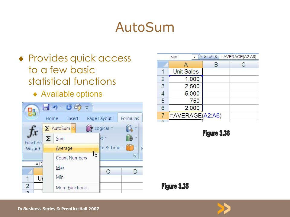 In Business Series © Prentice Hall 2007 AutoSum  Provides quick access to a few basic statistical functions  Available options